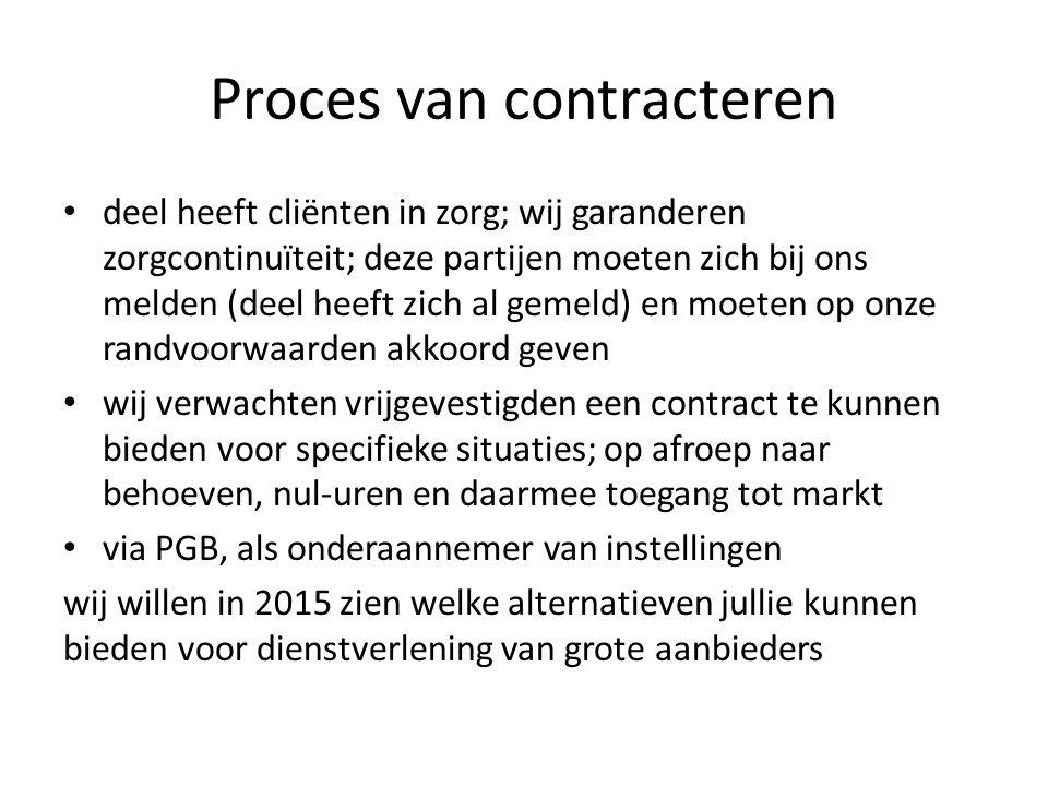 Proces van contracteren deel heeft cliënten in zorg; wij garanderen zorgcontinuïteit; deze partijen moeten zich bij ons melden (deel heeft zich al gemeld) en moeten op onze randvoorwaarden akkoord geven wij verwachten vrijgevestigden een contract te kunnen bieden voor specifieke situaties; op afroep naar behoeven, nul-uren en daarmee toegang tot markt via PGB, als onderaannemer van instellingen wij willen in 2015 zien welke alternatieven jullie kunnen bieden voor dienstverlening van grote aanbieders