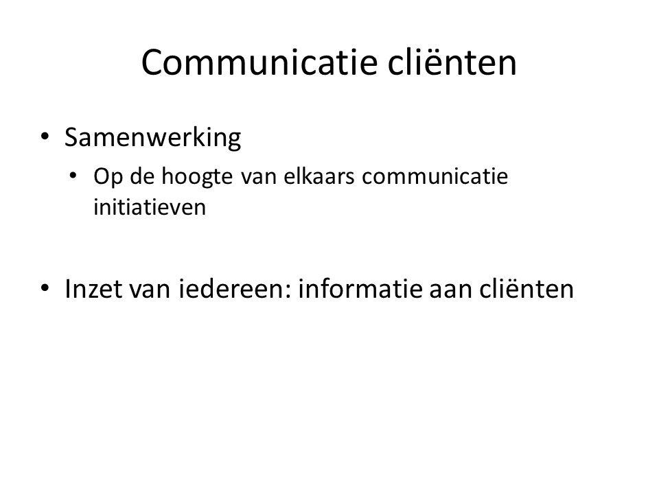 Communicatie cliënten Samenwerking Op de hoogte van elkaars communicatie initiatieven Inzet van iedereen: informatie aan cliënten