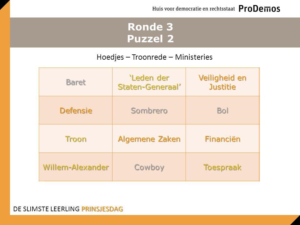 Ronde 3 Puzzel 2 Baret 'Leden der Staten-Generaal' Veiligheid en Justitie DefensieSombreroBol TroonAlgemene ZakenFinanciën Willem- Alexander CowboyToe