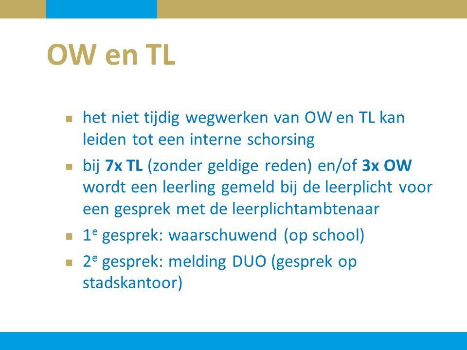 het niet tijdig wegwerken van OW en TL kan leiden tot een interne schorsing bij 7x TL (zonder geldige reden) en/of 3x OW wordt een leerling gemeld bij