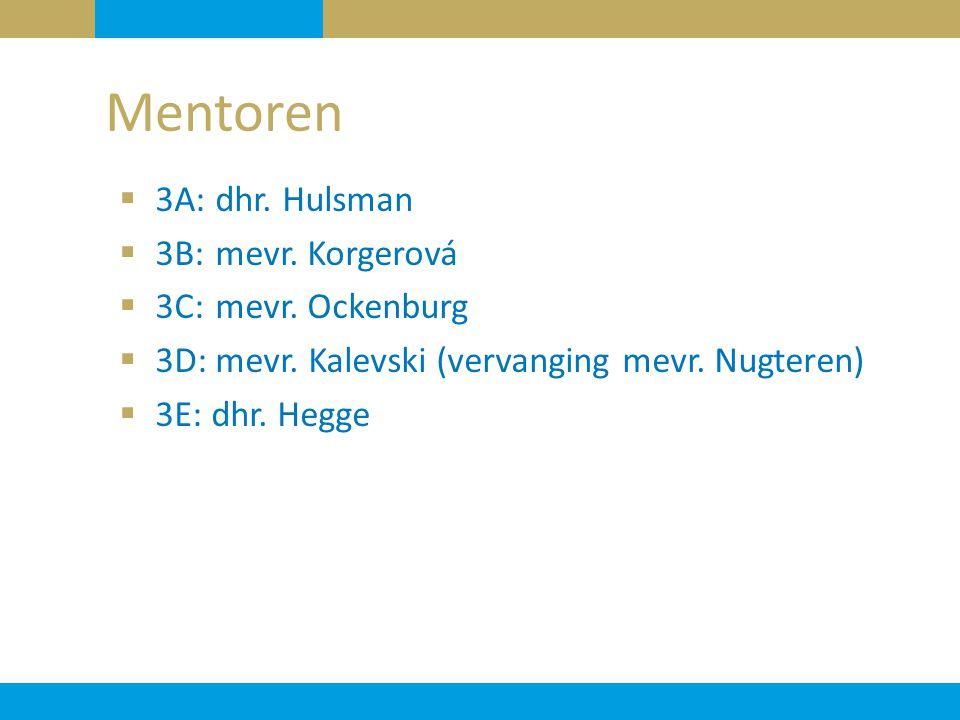  3A: dhr. Hulsman  3B: mevr. Korgerová  3C: mevr. Ockenburg  3D: mevr. Kalevski (vervanging mevr. Nugteren)  3E: dhr. Hegge Mentoren