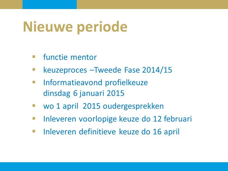 Nieuwe periode  functie mentor  keuzeproces –Tweede Fase 2014/15  Informatieavond profielkeuze dinsdag 6 januari 2015  wo 1 april 2015 oudergespre