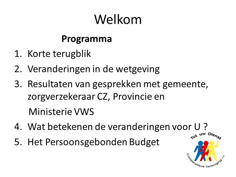 Welkom Programma 1.Korte terugblik 2.Veranderingen in de wetgeving 3.Resultaten van gesprekken met gemeente, zorgverzekeraar CZ, Provincie en Minister