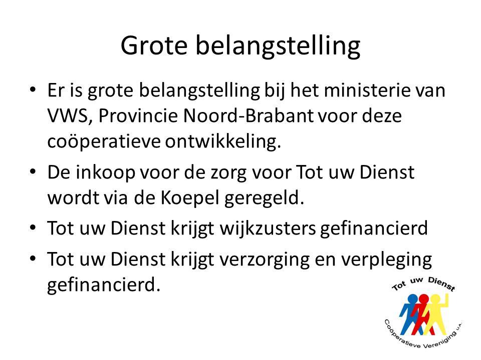 Grote belangstelling Er is grote belangstelling bij het ministerie van VWS, Provincie Noord-Brabant voor deze coöperatieve ontwikkeling. De inkoop voo