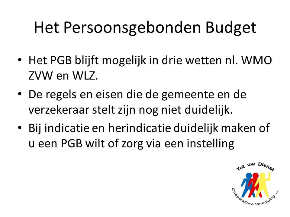 Het Persoonsgebonden Budget Het PGB blijft mogelijk in drie wetten nl. WMO ZVW en WLZ. De regels en eisen die de gemeente en de verzekeraar stelt zijn
