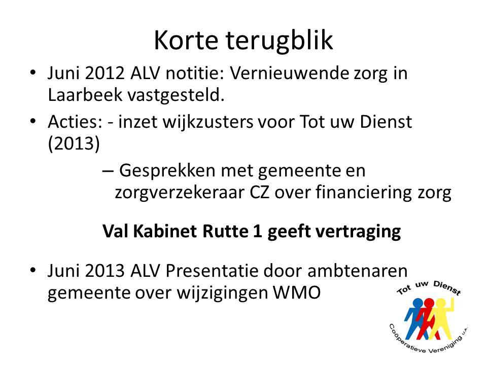 Korte terugblik Juni 2012 ALV notitie: Vernieuwende zorg in Laarbeek vastgesteld. Acties: - inzet wijkzusters voor Tot uw Dienst (2013) – Gesprekken m