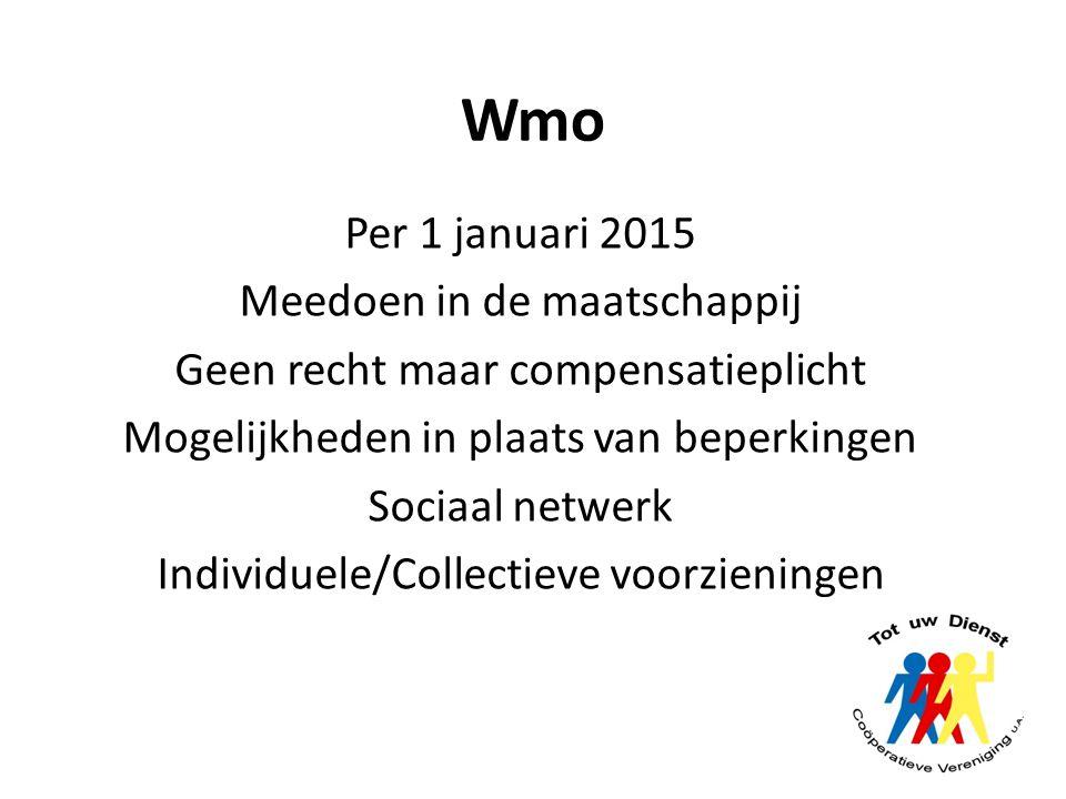 Wmo Per 1 januari 2015 Meedoen in de maatschappij Geen recht maar compensatieplicht Mogelijkheden in plaats van beperkingen Sociaal netwerk Individuel