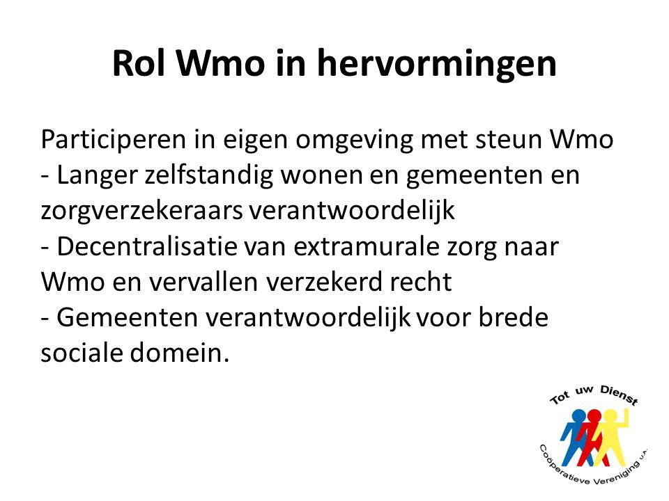 Rol Wmo in hervormingen Participeren in eigen omgeving met steun Wmo - Langer zelfstandig wonen en gemeenten en zorgverzekeraars verantwoordelijk - De
