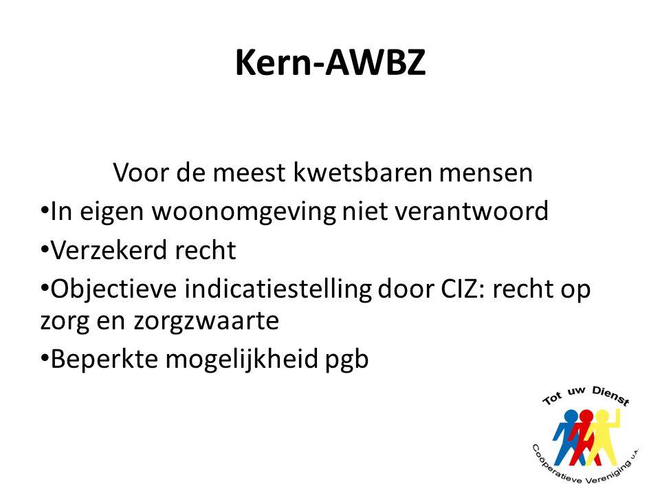 Kern-AWBZ Voor de meest kwetsbaren mensen In eigen woonomgeving niet verantwoord Verzekerd recht Objectieve indicatiestelling door CIZ: recht op zorg