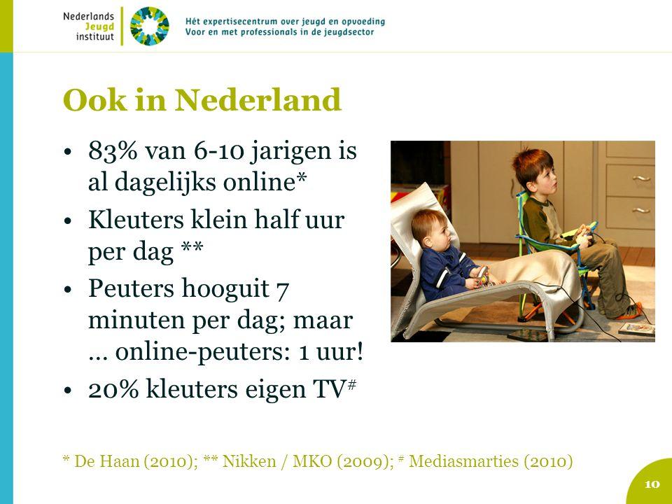 Ook in Nederland 83% van 6-10 jarigen is al dagelijks online* Kleuters klein half uur per dag ** Peuters hooguit 7 minuten per dag; maar … online-peuters: 1 uur.