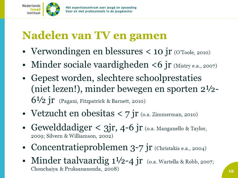 Nadelen van TV en gamen Verwondingen en blessures < 10 jr (O'Toole, 2010) Minder sociale vaardigheden <6 jr (Mistry e.a., 2007) Gepest worden, slechtere schoolprestaties (niet lezen!), minder bewegen en sporten 2½- 6½ jr (Pagani, Fitzpatrick & Barnett, 2010) Vetzucht en obesitas < 7 jr (o.a.