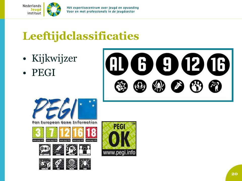 Leeftijdclassificaties Kijkwijzer PEGI 20