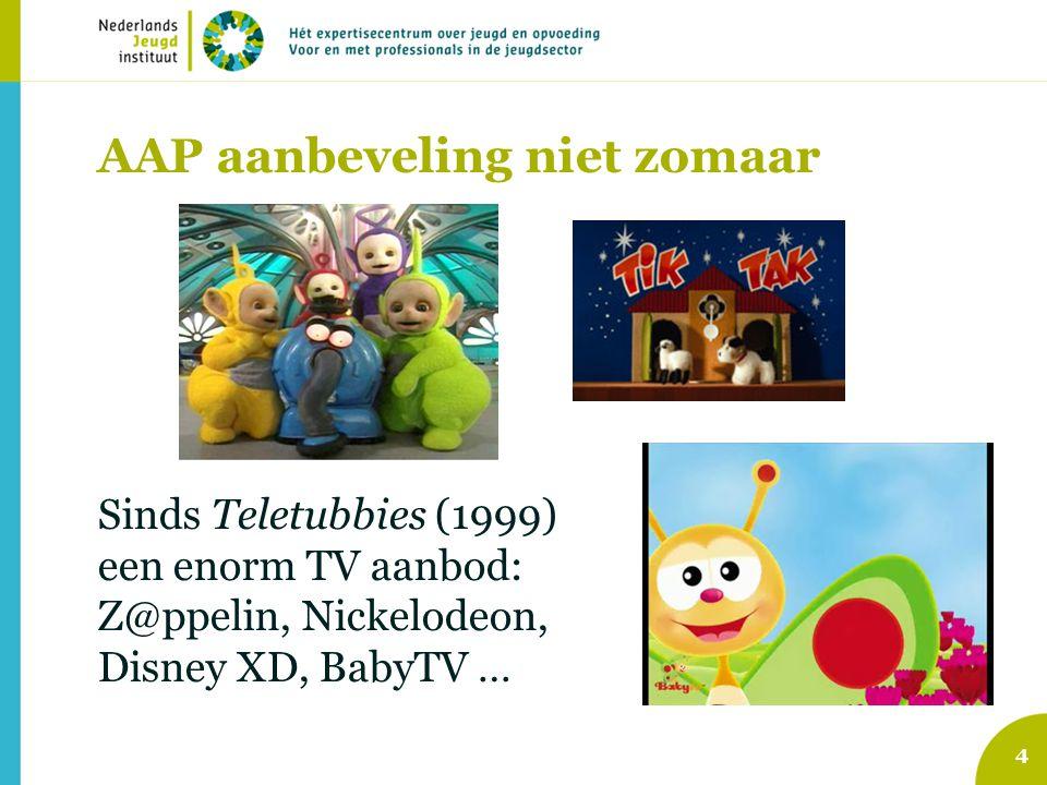 AAP aanbeveling niet zomaar 4 Sinds Teletubbies (1999) een enorm TV aanbod: Z@ppelin, Nickelodeon, Disney XD, BabyTV …
