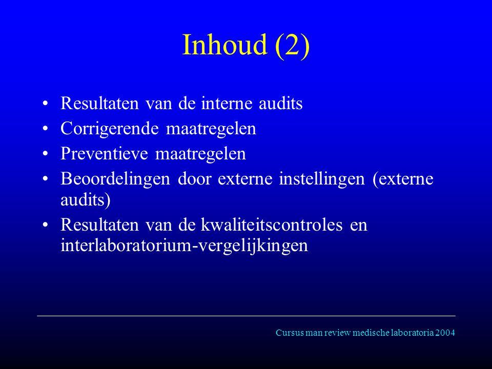 Cursus man review medische laboratoria 2004 Inhoud (2) Resultaten van de interne audits Corrigerende maatregelen Preventieve maatregelen Beoordelingen door externe instellingen (externe audits) Resultaten van de kwaliteitscontroles en interlaboratorium-vergelijkingen