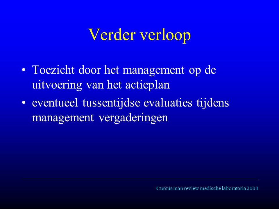 Cursus man review medische laboratoria 2004 Verder verloop Toezicht door het management op de uitvoering van het actieplan eventueel tussentijdse evaluaties tijdens management vergaderingen