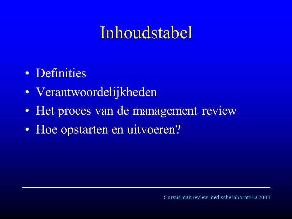 Cursus man review medische laboratoria 2004 Inhoudstabel Definities Verantwoordelijkheden Het proces van de management review Hoe opstarten en uitvoeren