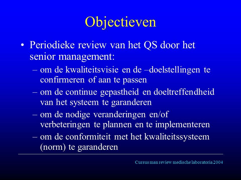 Cursus man review medische laboratoria 2004 Objectieven Periodieke review van het QS door het senior management: –om de kwaliteitsvisie en de –doelstellingen te confirmeren of aan te passen –om de continue gepastheid en doeltreffendheid van het systeem te garanderen –om de nodige veranderingen en/of verbeteringen te plannen en te implementeren –om de conformiteit met het kwaliteitssysteem (norm) te garanderen