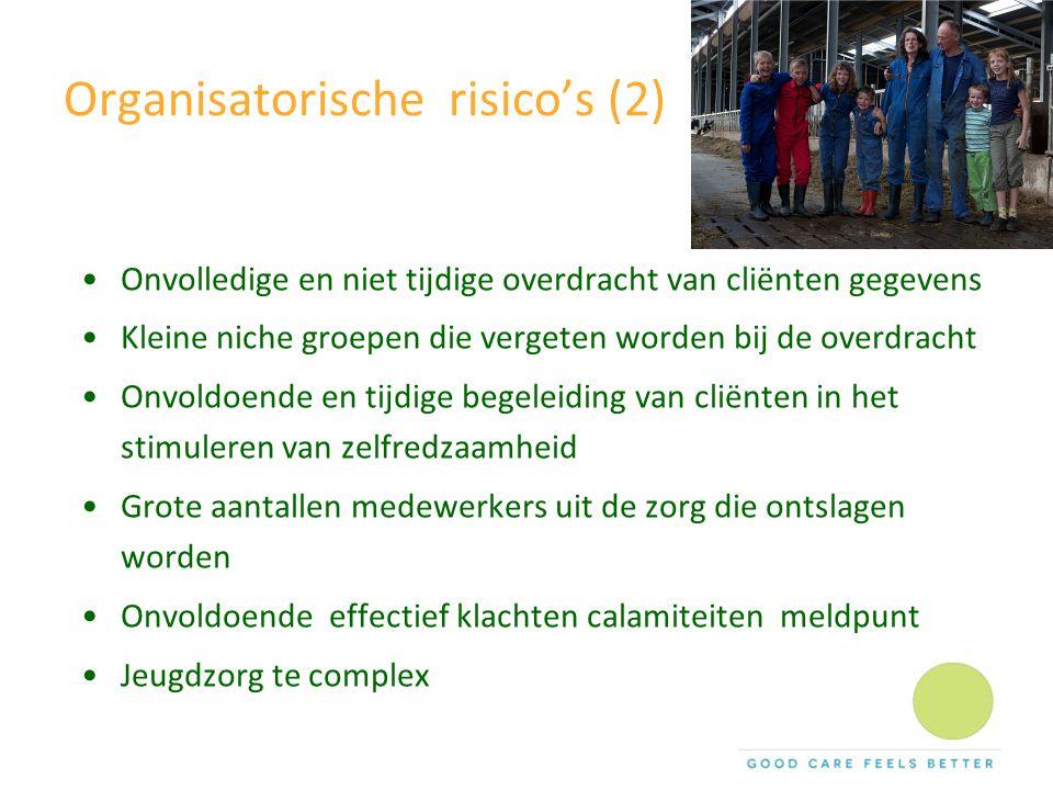Organisatorische risico's (2) Onvolledige en niet tijdige overdracht van cliënten gegevens Kleine niche groepen die vergeten worden bij de overdracht