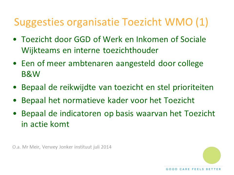 Suggesties organisatie Toezicht WMO (1) Toezicht door GGD of Werk en Inkomen of Sociale Wijkteams en interne toezichthouder Een of meer ambtenaren aan