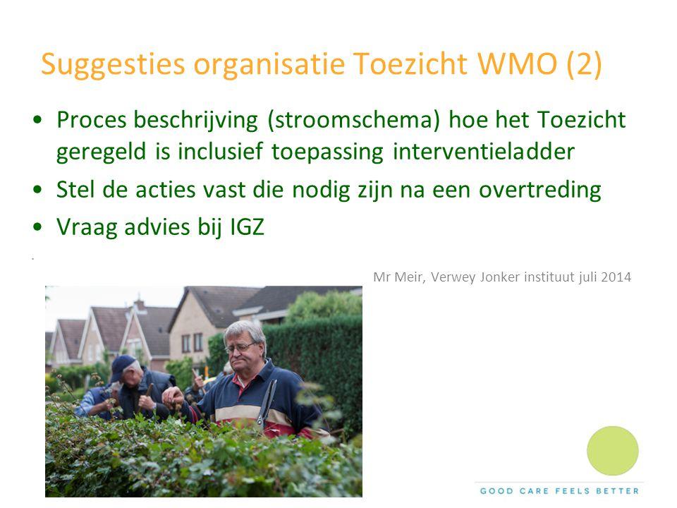 Suggesties organisatie Toezicht WMO (2) Proces beschrijving (stroomschema) hoe het Toezicht geregeld is inclusief toepassing interventieladder Stel de