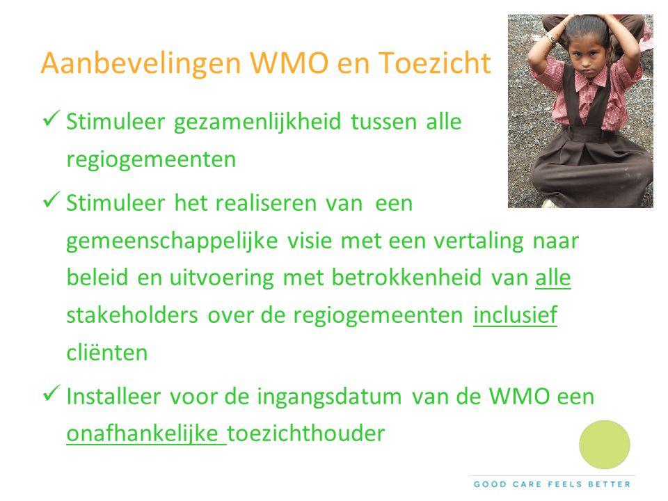 Aanbevelingen WMO en Toezicht Stimuleer gezamenlijkheid tussen alle regiogemeenten Stimuleer het realiseren van een gemeenschappelijke visie met een v