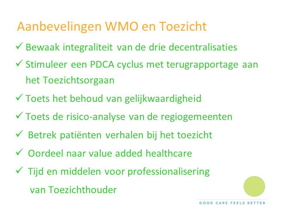 Aanbevelingen WMO en Toezicht Bewaak integraliteit van de drie decentralisaties Stimuleer een PDCA cyclus met terugrapportage aan het Toezichtsorgaan