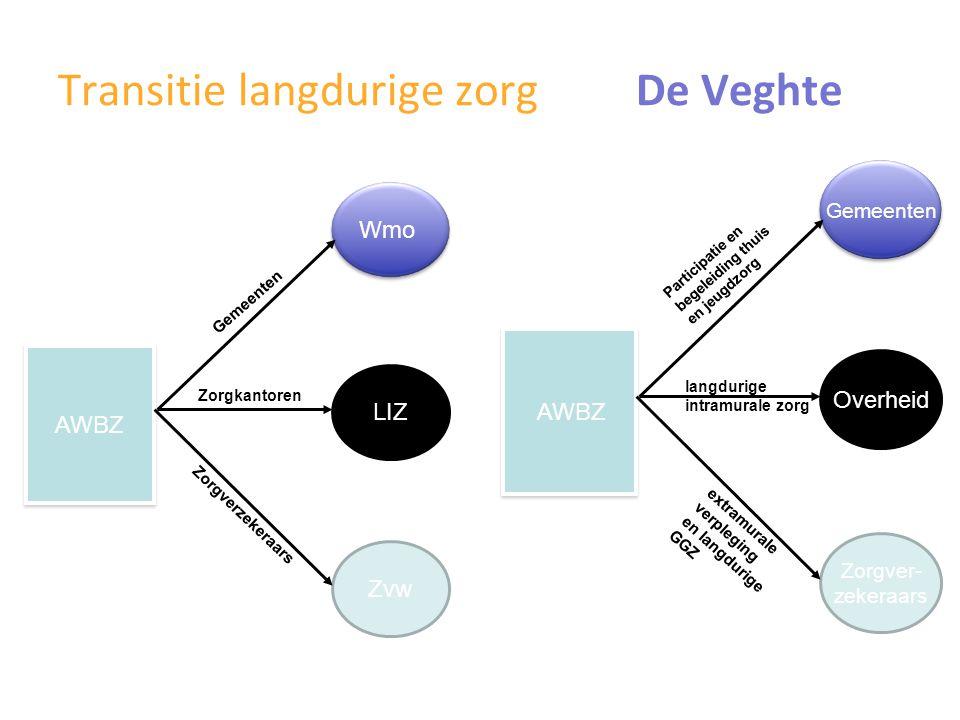 Bezuinigingen WMO-AWBZ De Veghte AWBZ gemeenten zorgverzekeraar LIZ - 40% - 25% - 5% - 25% - 5% - 100 % - 25%