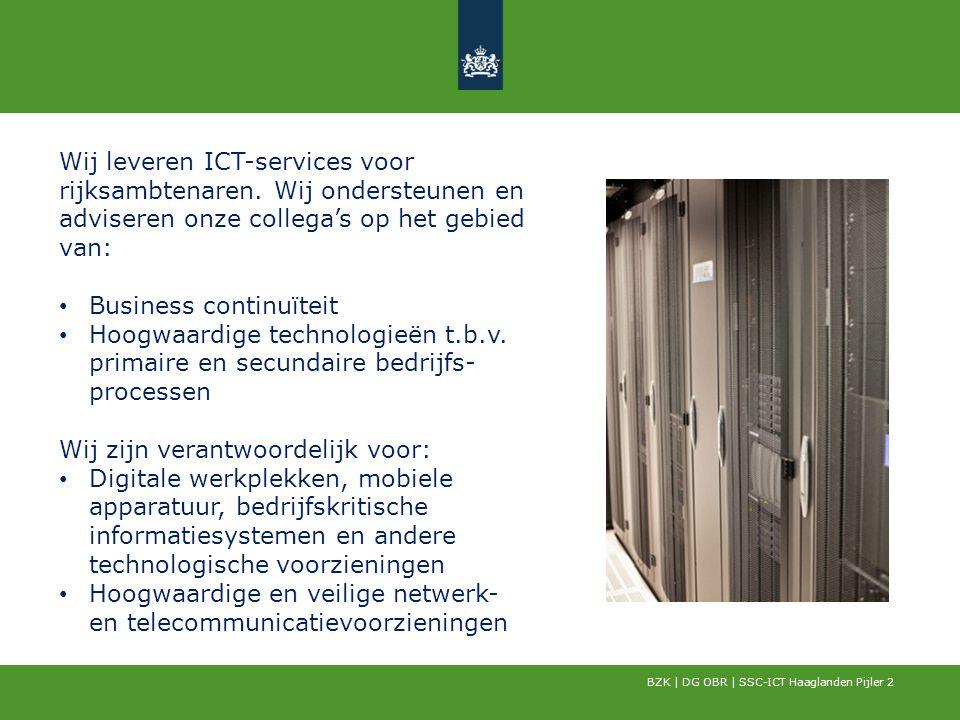BZK | DG OBR | SSC-ICT Haaglanden Pijler 2 Wij leveren ICT-services voor rijksambtenaren. Wij ondersteunen en adviseren onze collega's op het gebied v