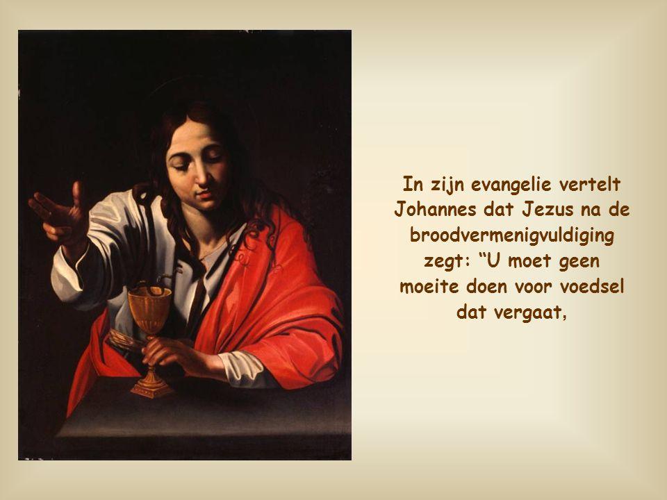 In zijn evangelie vertelt Johannes dat Jezus na de broodvermenigvuldiging zegt: U moet geen moeite doen voor voedsel dat vergaat,