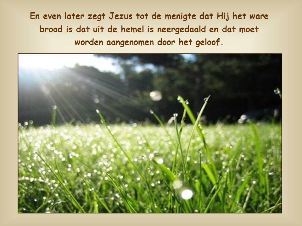 En even later zegt Jezus tot de menigte dat Hij het ware brood is dat uit de hemel is neergedaald en dat moet worden aangenomen door het geloof.