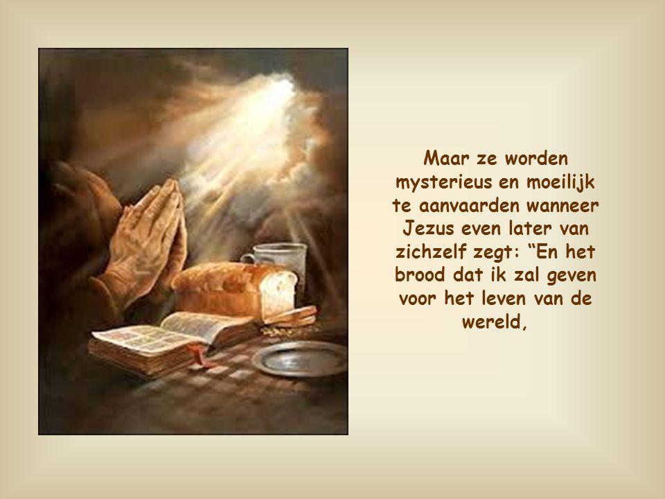 Maar ze worden mysterieus en moeilijk te aanvaarden wanneer Jezus even later van zichzelf zegt: En het brood dat ik zal geven voor het leven van de wereld,