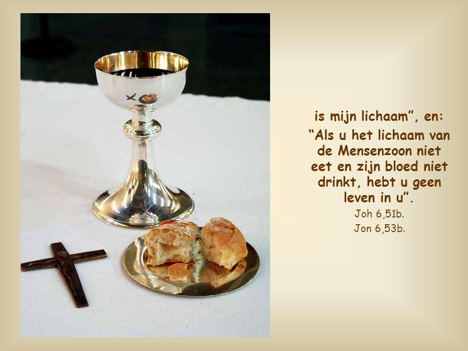 is mijn lichaam , en: Als u het lichaam van de Mensenzoon niet eet en zijn bloed niet drinkt, hebt u geen leven in u .