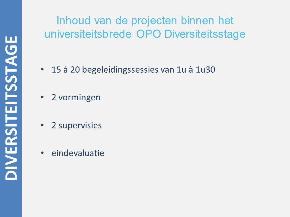 Inhoud van de projecten binnen het universiteitsbrede OPO Diversiteitsstage 15 à 20 begeleidingssessies van 1u à 1u30 2 vormingen 2 supervisies eindevaluatie DIVERSITEITSSTAGE