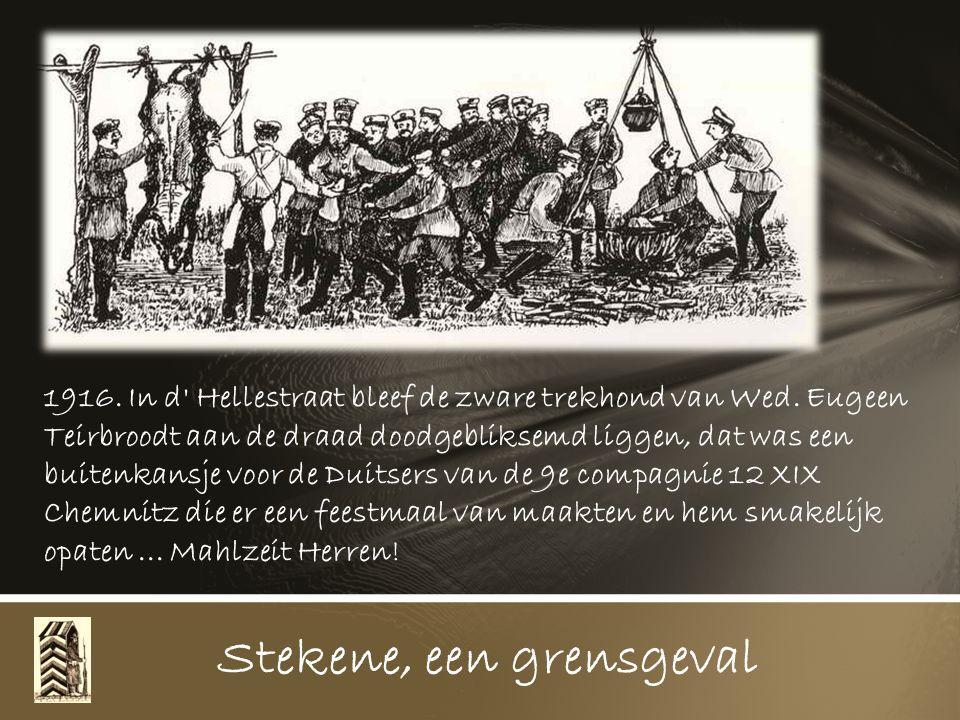 Een Duitse overloper bakkersknecht en zijn kameraad, ook een deserteur brengt Hollands brood voor de Belgische bevolking aan de grens op de Sluis, dan