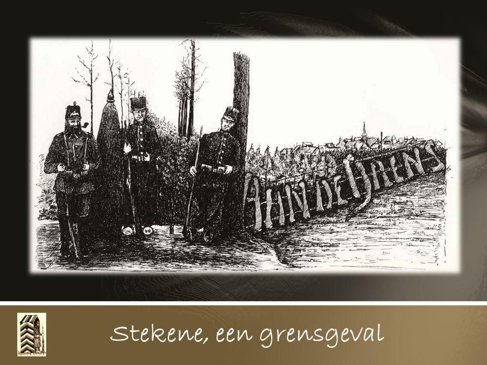 In 1915 werd Stekene voor een deel grensgebied. Het grensgebied strekte zich uit ten noorden van de lijn Klein Sinaai langs de spoorbaan tot aan het r