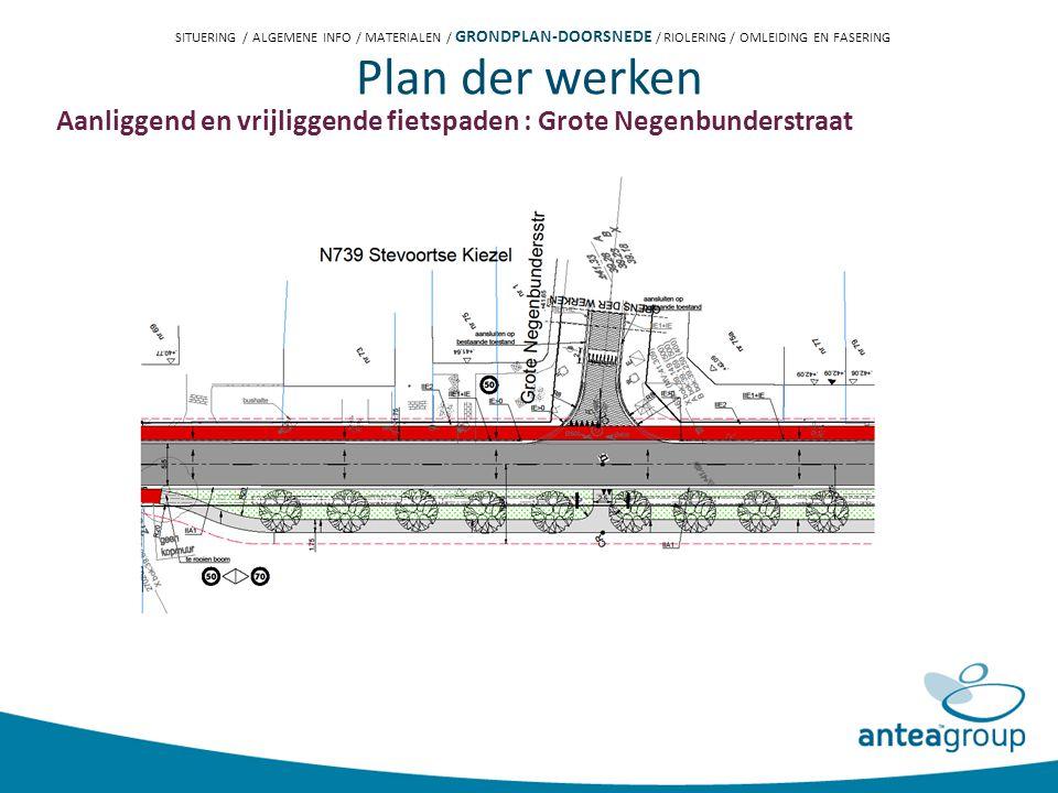 Plan der werken Aanliggend en vrijliggende fietspaden : Grote Negenbunderstraat SITUERING / ALGEMENE INFO / MATERIALEN / GRONDPLAN-DOORSNEDE / RIOLERING / OMLEIDING EN FASERING