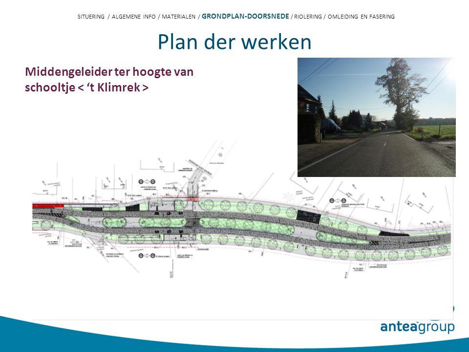 Plan der werken Middengeleider ter hoogte van schooltje SITUERING / ALGEMENE INFO / MATERIALEN / GRONDPLAN-DOORSNEDE / RIOLERING / OMLEIDING EN FASERING