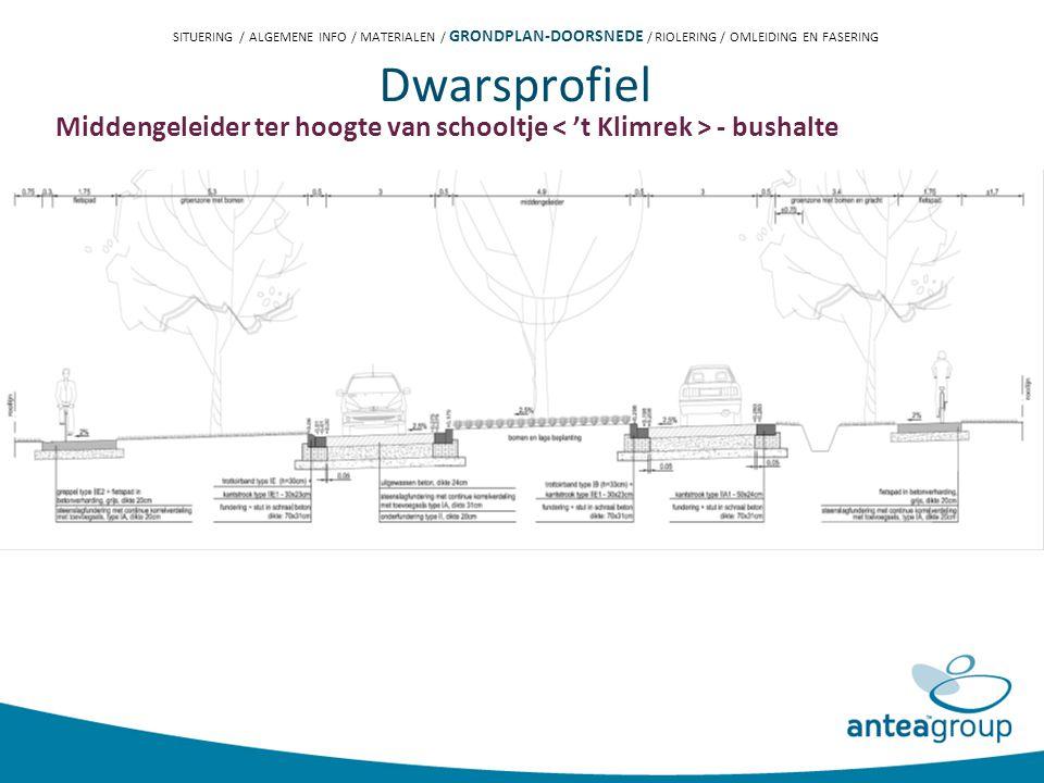 Dwarsprofiel Middengeleider ter hoogte van schooltje - bushalte SITUERING / ALGEMENE INFO / MATERIALEN / GRONDPLAN-DOORSNEDE / RIOLERING / OMLEIDING EN FASERING