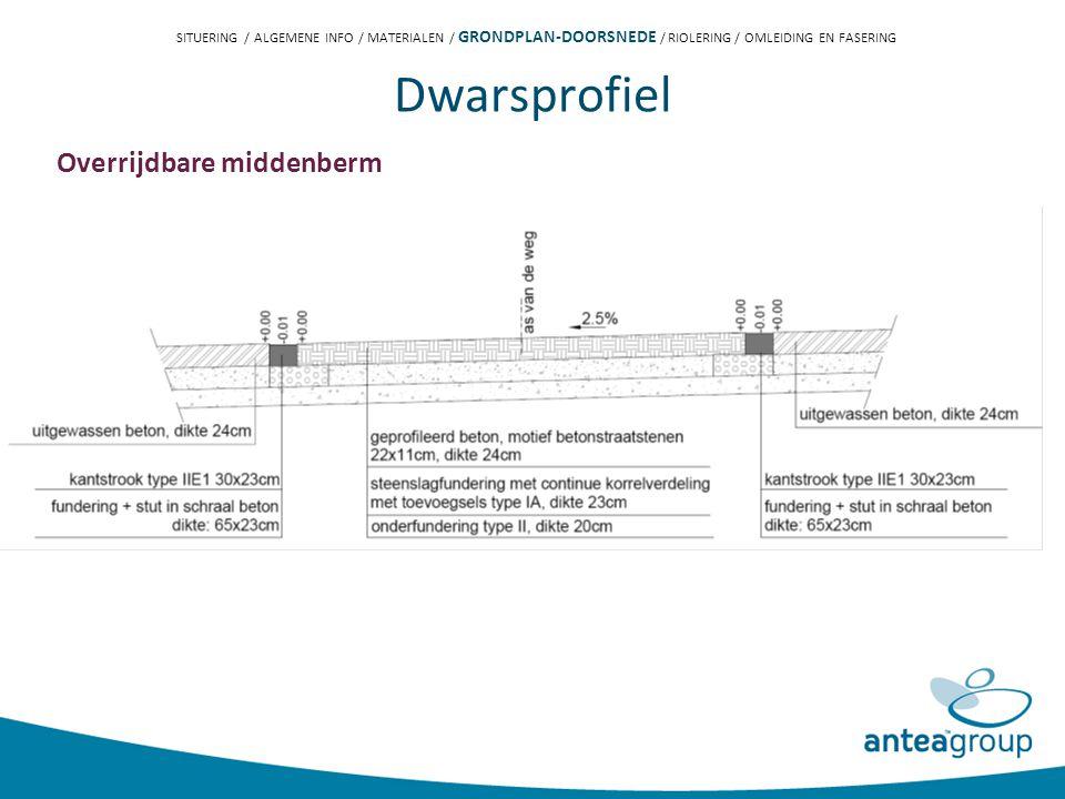 Dwarsprofiel Overrijdbare middenberm SITUERING / ALGEMENE INFO / MATERIALEN / GRONDPLAN-DOORSNEDE / RIOLERING / OMLEIDING EN FASERING