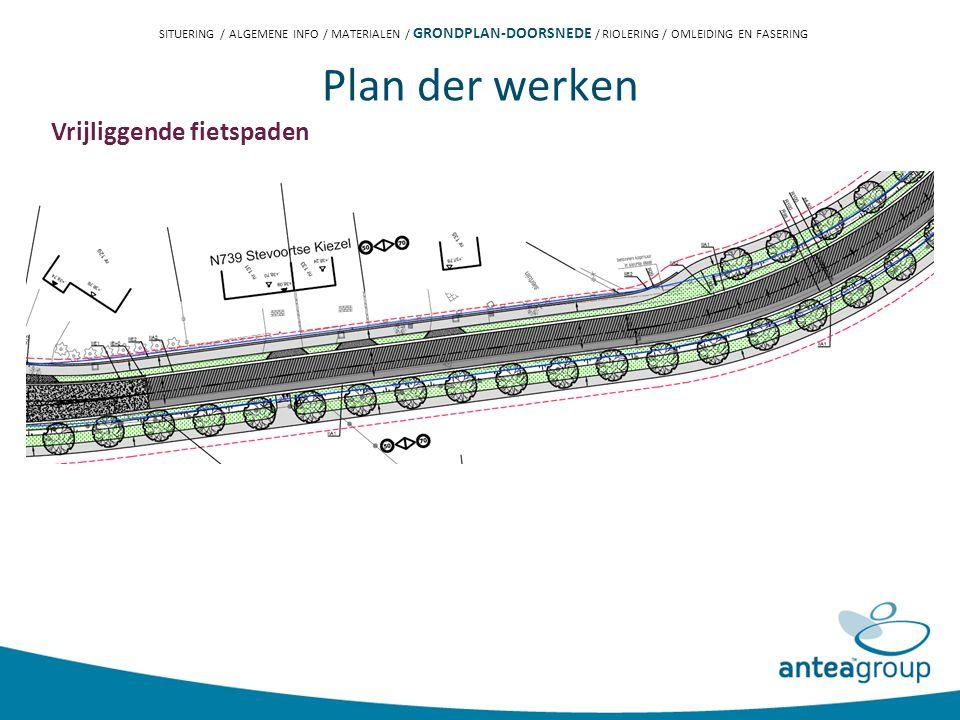 Plan der werken Vrijliggende fietspaden SITUERING / ALGEMENE INFO / MATERIALEN / GRONDPLAN-DOORSNEDE / RIOLERING / OMLEIDING EN FASERING