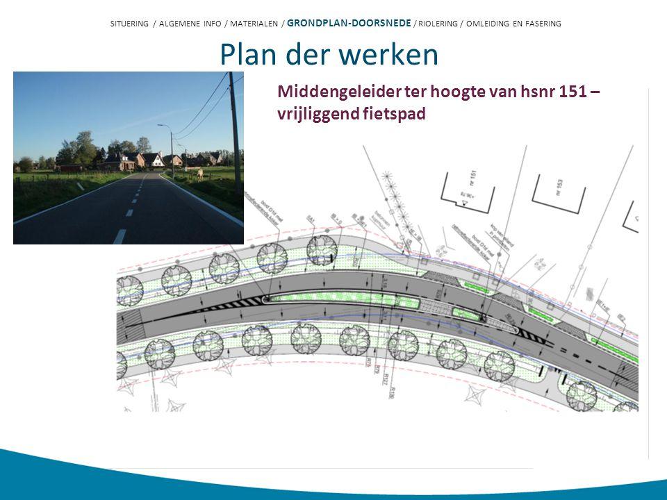 Plan der werken Middengeleider ter hoogte van hsnr 151 – vrijliggend fietspad SITUERING / ALGEMENE INFO / MATERIALEN / GRONDPLAN-DOORSNEDE / RIOLERING / OMLEIDING EN FASERING