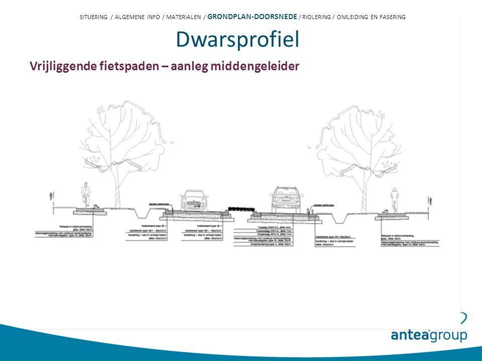 Dwarsprofiel Vrijliggende fietspaden – aanleg middengeleider SITUERING / ALGEMENE INFO / MATERIALEN / GRONDPLAN-DOORSNEDE / RIOLERING / OMLEIDING EN FASERING