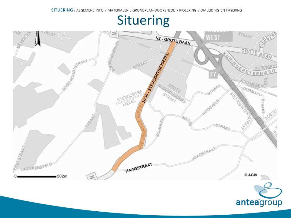 Plan der werken Inplanting bufferbekken PROGRAMMA / SITUERING / ALGEMENE INFO / MATERIALEN / GRONDPLAN-DOORSNEDE / RIOLERING / OMLEIDING EN FASERING