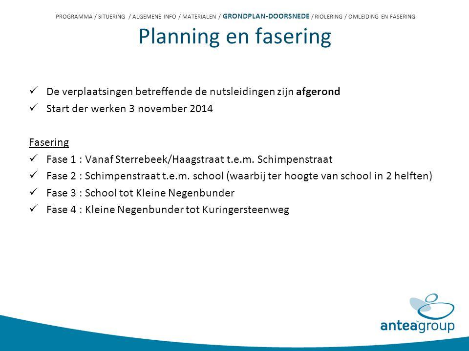 De verplaatsingen betreffende de nutsleidingen zijn afgerond Start der werken 3 november 2014 Fasering Fase 1 : Vanaf Sterrebeek/Haagstraat t.e.m.