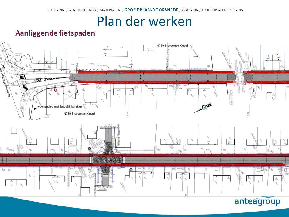 Plan der werken Aanliggende fietspaden SITUERING / ALGEMENE INFO / MATERIALEN / GRONDPLAN-DOORSNEDE / RIOLERING / OMLEIDING EN FASERING