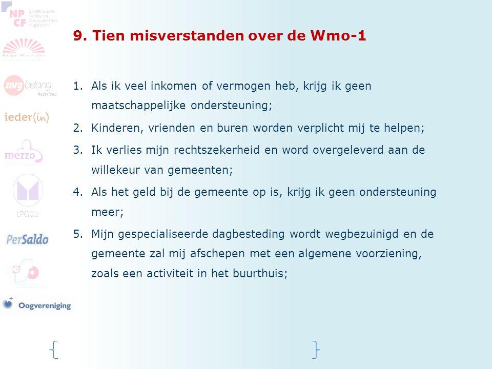 9. Tien misverstanden over de Wmo-1 1.Als ik veel inkomen of vermogen heb, krijg ik geen maatschappelijke ondersteuning; 2.Kinderen, vrienden en buren