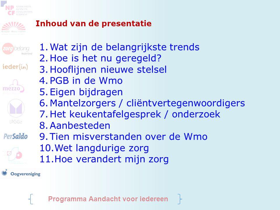 Inhoud van de presentatie 1.Wat zijn de belangrijkste trends 2.Hoe is het nu geregeld? 3.Hooflijnen nieuwe stelsel 4.PGB in de Wmo 5.Eigen bijdragen 6