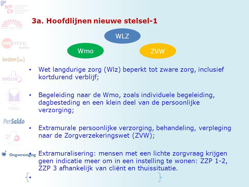 3a. Hoofdlijnen nieuwe stelsel-1 Wet langdurige zorg (Wlz) beperkt tot zware zorg, inclusief kortdurend verblijf; Begeleiding naar de Wmo, zoals indiv
