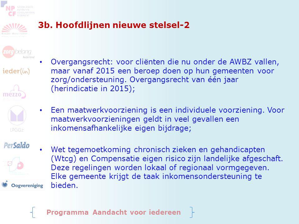 3b. Hoofdlijnen nieuwe stelsel-2 Overgangsrecht: voor cliënten die nu onder de AWBZ vallen, maar vanaf 2015 een beroep doen op hun gemeenten voor zorg
