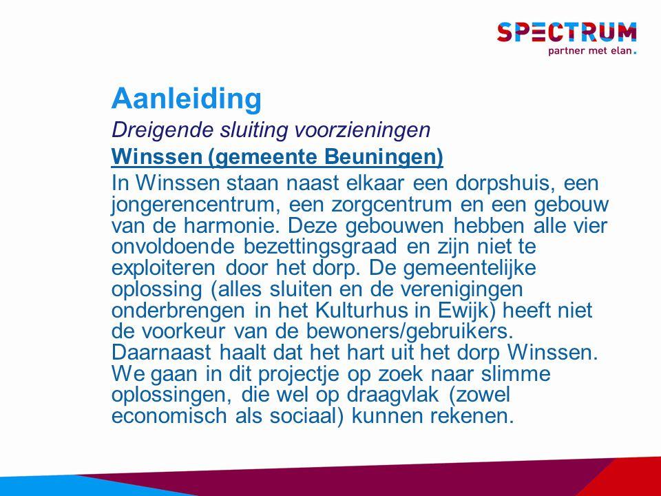 Aanleiding Dreigende sluiting voorzieningen Winssen (gemeente Beuningen) In Winssen staan naast elkaar een dorpshuis, een jongerencentrum, een zorgcentrum en een gebouw van de harmonie.